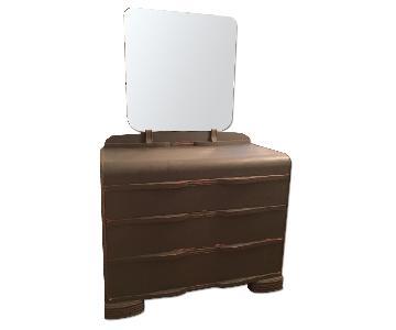Vintage Art Deco Dresser with Mirror + Headboard