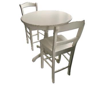 Ballard Designs White Round Pedestal Bar Dining Table w/ 2 Stools