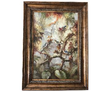 L. Richard Signed & Framed Oil Painting - French Impressionism of Wild Birds