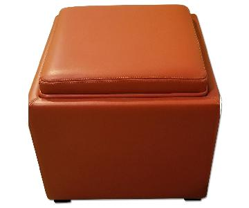 Crate & Barrel Stow Leather Storage Ottoman