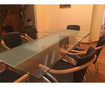 Italian Large Glass Dining Table
