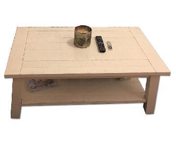 West Elm White Wooden Coffee Table w/ Shelf