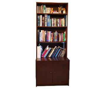 Ikea Bookcase Cabinet in Mahogany-Toned Veneer