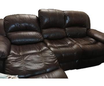 Raymour & Flanigan 3 Seater Leather Sofa w/ 2 End Recliners