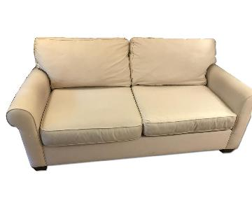 Pottery Barn Comfort Roll Upholstered Sofa in Camel Twill
