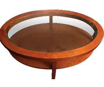 Wood Base/Glass Top Coffee Table