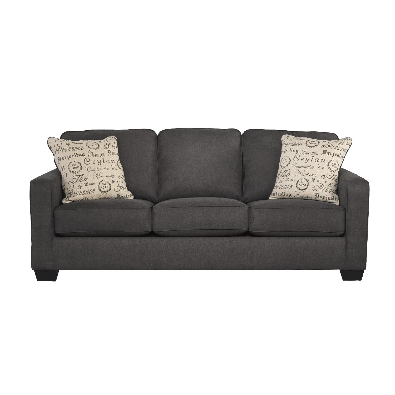 Ashley's 3 Seater Conptemporary Queen Sleeper Fabric Sofa in Charcoal Color