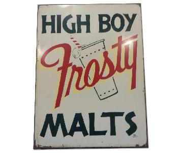 1950s Tin Advertising Sign - High Boy Frosty Malts