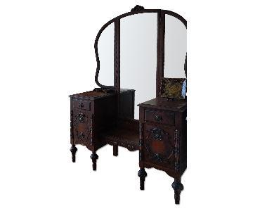 Antique Vintage 6 Drawer Dresser w/ Mirror
