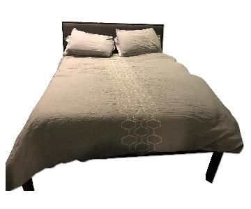 Crate & Barrel Stainless Steel Queen Bed Frame