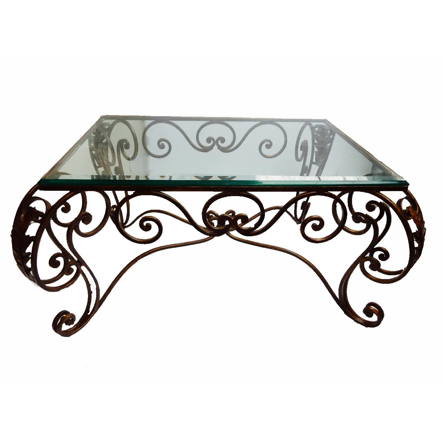 french style fer forge coffee table aptdeco. Black Bedroom Furniture Sets. Home Design Ideas