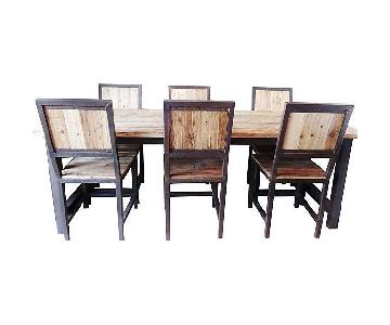 Industrial Wood & Iron 7 Piece Dining Set
