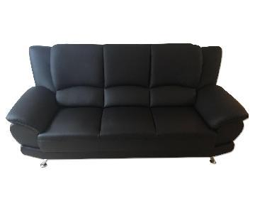 Raymour & Flanigan Bentley Leather Modern 3 Seater Sofa