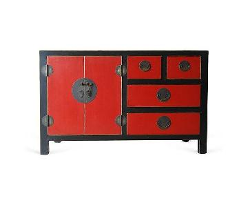 Lacquered Chinoiserie Red & Black Wood Credenza