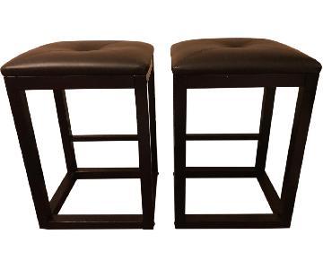 Urban Essentials Wood Frame w/ Leather Seat Bar Stools