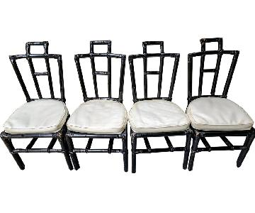 Bamboo Chinoiserie Style Chairs w/ White Vinyl Removeable Seat Cushions