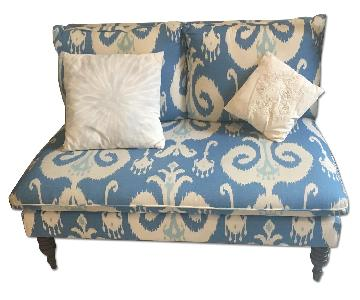 One King's Lane Bacall Armless Blue Ikat Settee