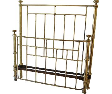Vintage Brass Full/Double Size Wrought Iron Metal Bed Frame w/ Headboard & Footboard