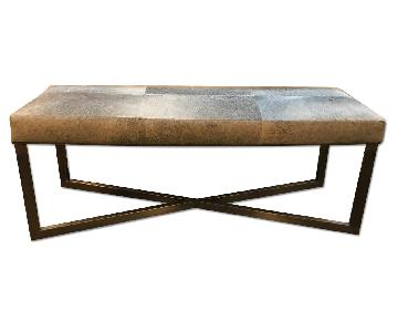 Made Goods Roger Double Bench in Antique Silver