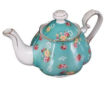 Coastline Imports Vintage Green Rose Porcelain Teapot