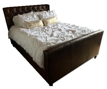 Leather Chesterfield Restoration Hardware Bed Frame w/ Headboard