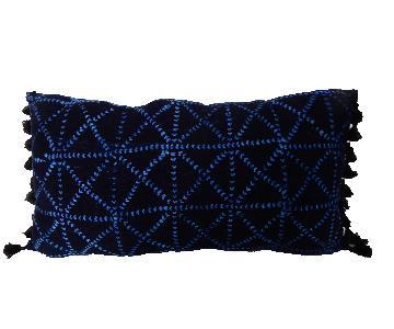 Lumbar Indigo Mud Cloth Pillow