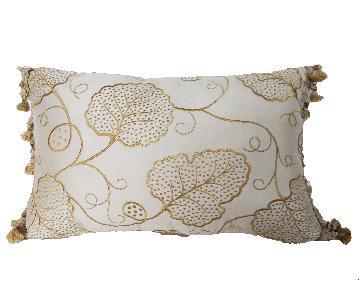 Custom Made Beige Lumbar Silk Pillow