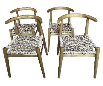 West Elm Wood & Jute Dining Chairs
