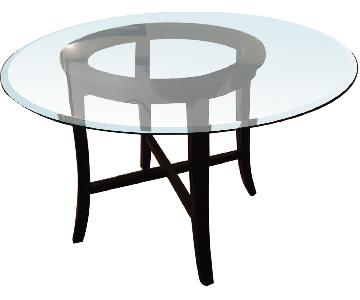 Crate & Barrel Halo Ebony Round Dining Table w/ Glass Top