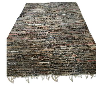 Vintage 1980 Pier 1 Woven Leather Rug