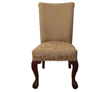 Custom Upholstered Parson Dining Room Chairs in Gold & Silver Paisley Fabric