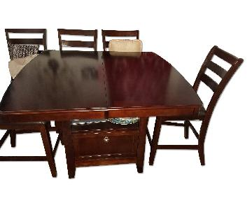 Espresso Wooden Dining Table w/ Wine/Glass Storage & 8 Matching Chairs