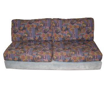 Roche Bobois 3 Piece Suede & Fabric Sectional Sofa