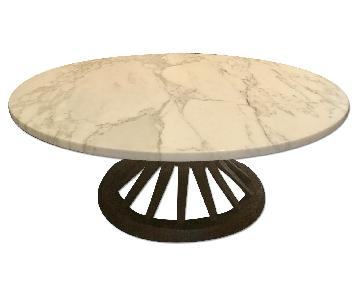 Mid Century Modern Marble Coffee Table w/ Spindle Base