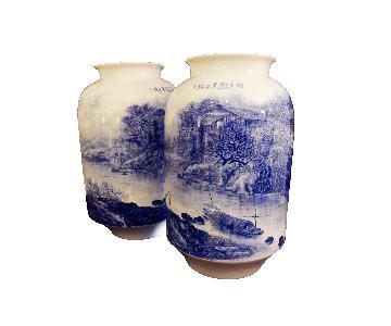 Hand Painted Blue & White Porcelain Vases