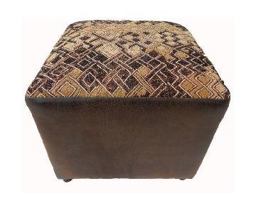 Square Kuba Textile/Leather Ottoman