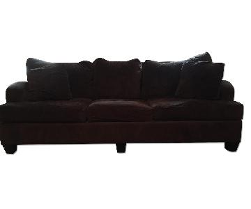 Levitz Furniture Brown Velvet Sofa