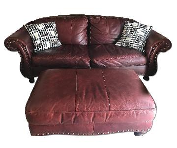 Red Leather Couch & Ottoman