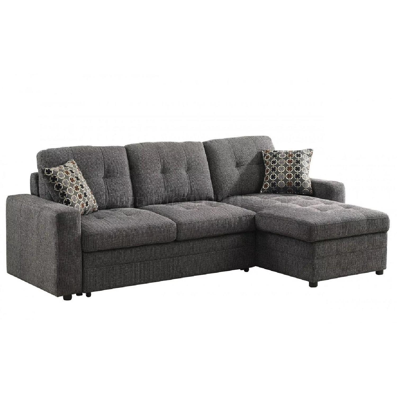 Modern Convertible Sectional Sleeper Sofa w/ Storage Chaise