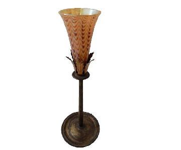 Lundberg Glass Tulip Shade Bronze Table Lamp