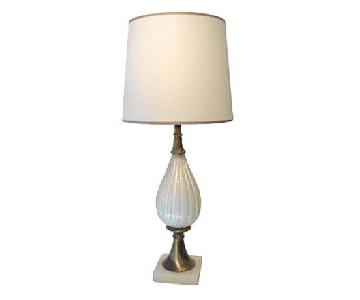 1950s White Murano Glass Lamp