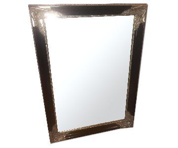 Hollywood Regency Ornate Carved Wooden Mirror w/ Silver Leaf