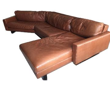 Room & Board Mid Century Modern Style Cognac Leather Sectional