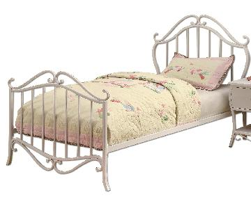 Twin Size White Metal Platform Bed in French Country Style Design