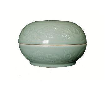 Hand Carved Porcelain Celadon Box
