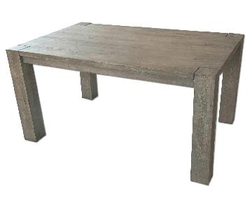 Restoration Hardware Reclaimed Russian Grey Oak Parsons Rectangular Dining Table