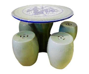 Porcelain Tea Table w/ 4 Stools
