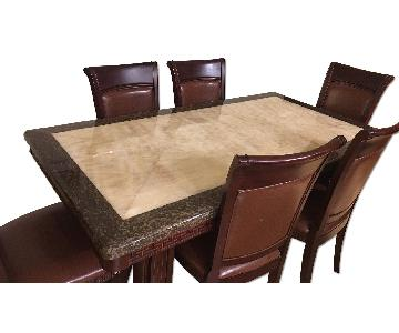 5 Piece Marble-Top Wood Dining Set