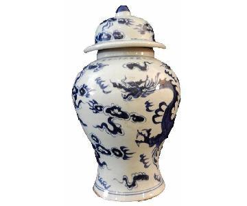 Blue & White Dragon Porcelain Ginger Jar