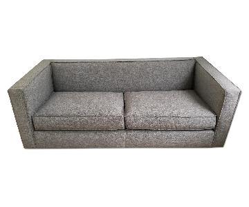 CB2 Grey Mid Century Modern Club Sofa